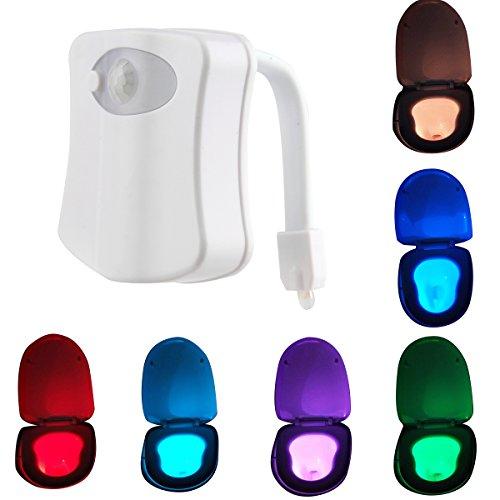 DERCLIVE Toilette Nachtlicht 8 Farben LED Bewegung Aktiviert Sensor Badezimmer Sitz Weiß