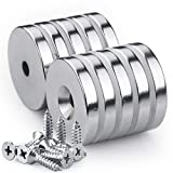 Neodymium Disc Countersunk Hole Magnets with 10 Screws, 1.26 inch D x 0.2 inch H Strong Rare Earth Magnets - Pack of 10