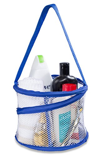 Bathroom Personal Organizer - 8' X 6' - Three Large Compartments to Organize Your Bathroom Accessories. The Shower Caddy Features a Drainage Hole and Carry Handle for Easy Transport. (Blue)
