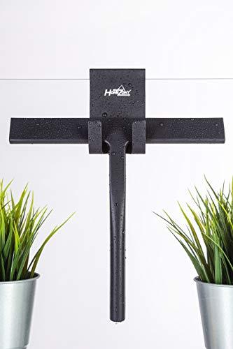 HOMEZONY Duschabzieher (23cm) schwarz inkl. Aufhänger – Silikon Abzieher aus langlebigem Material – Abzieher Dusche (Schwarz)