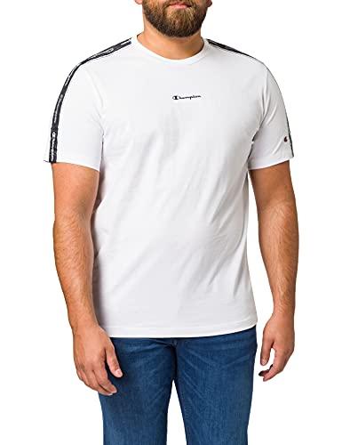 Champion Seasonal American Tape Crewneck T-Shirt Camiseta, White, S para Hombre