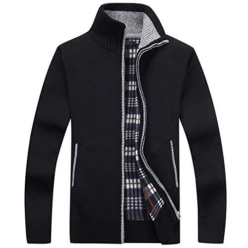 SwissWell Herren Strickjacke Cardigan Feinstrick mit Stehkragen Und Fleece-Innenseite Reißverschluss Lang Ärmel Jacke Pullover Coat Mantel Schwarz EU-S/Herstellergröße-XL
