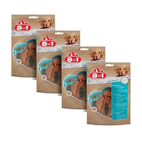 8in1 Fillet Pro Dental Friandises pour chiens adultes et seniors de grandes races – Pour une haleine fraîche – Au poulet – Lot de 4 x 80g