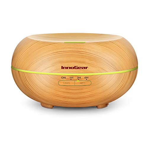 InnoGear Diffusers for Essential Oils, Wood Grain Essential Oil Diffuser Ultrasonic Aromatherapy Diffusers Aroma Cool Mist Humidifier with Timer Waterless Auto Off, 500ml, Yellow