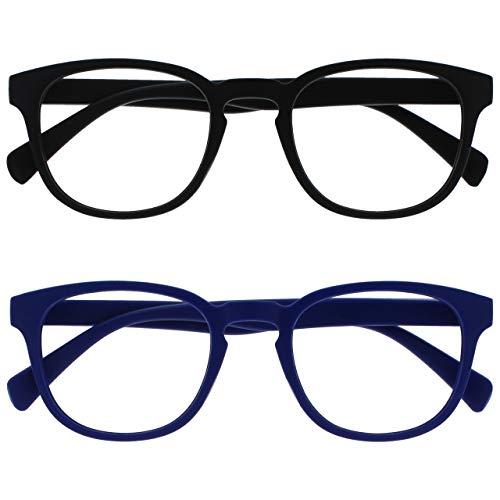 Opulize Pop Pack 2 Retro Redondo Negro Mate Suave Azul Hombres Mujeres Gafas De Lectura Bisagras Resorte RR2-13 +1,50