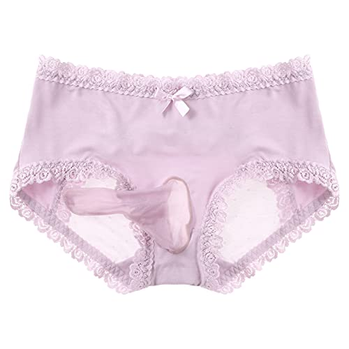 Freebily Men's Sissy Lace Trim Bikini Briefs Mesh Patchwork Bulge Pouch Panties Mid Waist Underwear Pink One Size
