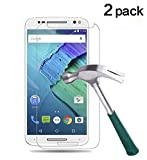 TANTEK [2-Pack] Screen Protector for Motorola Moto X Pure Edition(2015) / Moto X Style,Tempered Glass Film,Ultra Clear,Anti Scratch,Bubble Free,Case Friendly