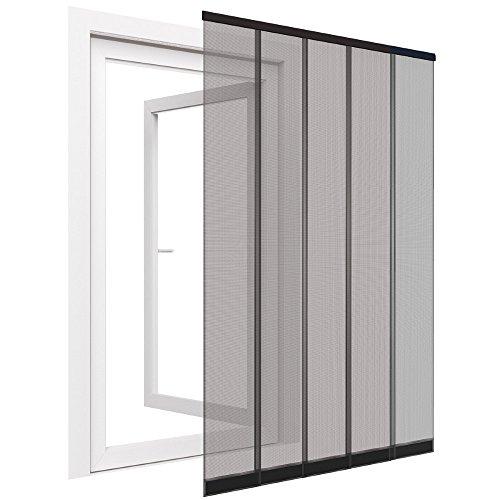 Insektenschutz Tür Vorhang Premium in anthrazit Fliegengitter aus Fiberglas Lamellen mit eingenähten Gewichten und Selbstklebender PVC Klemmleiste Fliegenvorhang, Größe:120 x 250 cm
