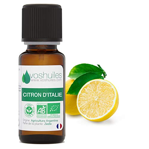 Huile Essentielle BIO de Citron - 100% Pure et Naturelle - HEBBD et ECOCERT - Huile Essentielle Fortifiante et Purifiante - Parfum Frais - Utilisation Alimentaire - 10ml - VOSHUILES