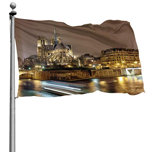 Yushg Flag House Decor Landmark Building Notre Dame De Paris Holiday Yard Flags Flag Table Decorations 4x6 Ft (120x180cm) Polyester with Grommets Decorations Indoor/Outdoor