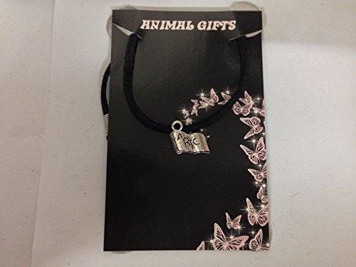 Collar de plata tibetana ABC libro en un cordón negro, hecho a mano de 41 cm y detalles muy finos ajustables vienen con embalaje de venta CH19