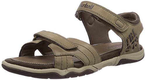 Timberland Unisex-Kinder Oak Bluffs Leather 2Strap Sandalen, Grau (Greige), 29 EU