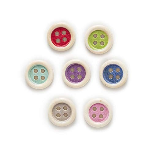 KGDUYH Fashion 50pcs Multi-color Optional 4 Hole Color Round Mixed Wood Buttons Clothing Decor Sewing Scrapbooking Home 15mm for Clothing and Decoration (Color : Intermediate color)