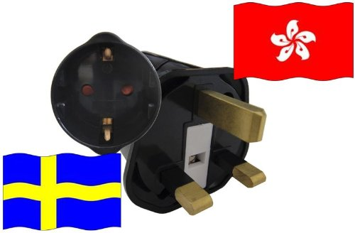 Urlaubs Reiseadapter Hong Kong für Geräte aus Schweden Kindersicherung und Schutzkontakt 250 Volt