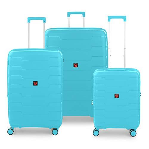 RONCATO Skyline - Juego de 3 maletas rígidas extensibles (L, medio y cabina), color verde