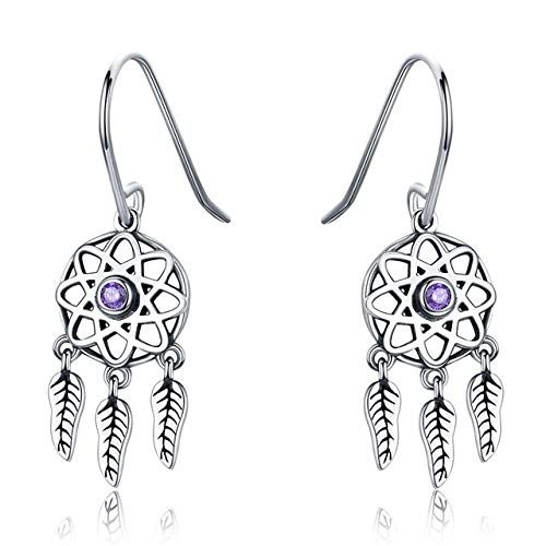 925 Sterling Silver Dream Catcher Dangle Earrings Zircon Fashion Drop Feather Earrings For Women Wedding Luxury Jewelry Gifts