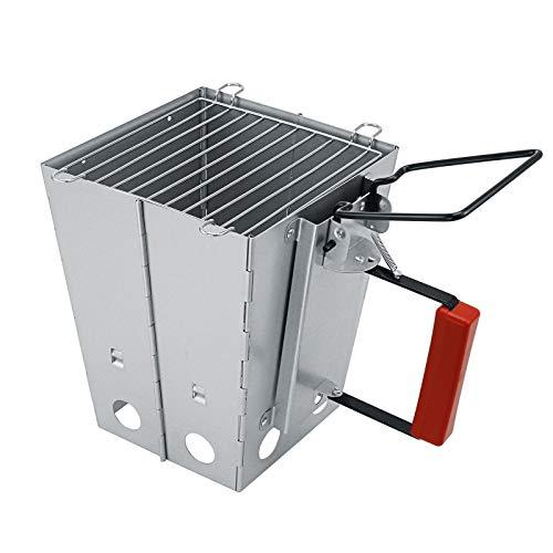 Denmay BBQ inklapbare inklapbare houtskool schoorsteen starter met handvat voor weber, Grill Quick Start Barbecue voor Camping & Grilling, schoorsteen aansteker mandje, brandontsteking aansteker steenkool brander verlichting