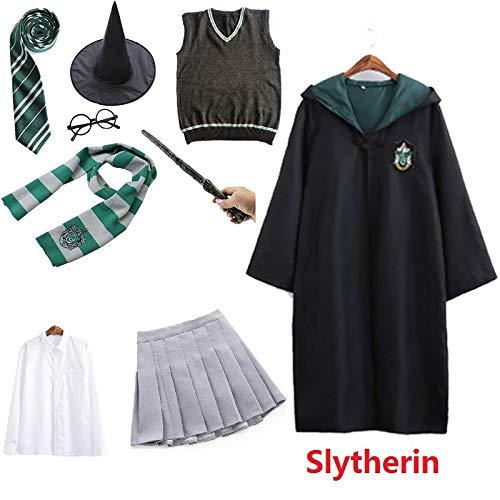 Los nios Adultos Potter Magia Vestido de Disfraz en Forma de Manto suter Vestido de Varita Ravenclaw Gryffindor Hufflepuff Disfraz de Slytherin