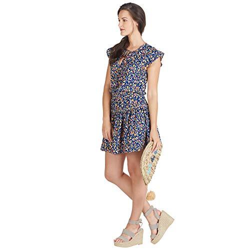 Mud Pie Women's Danielle Flutter Navy Dress, Blue, Large