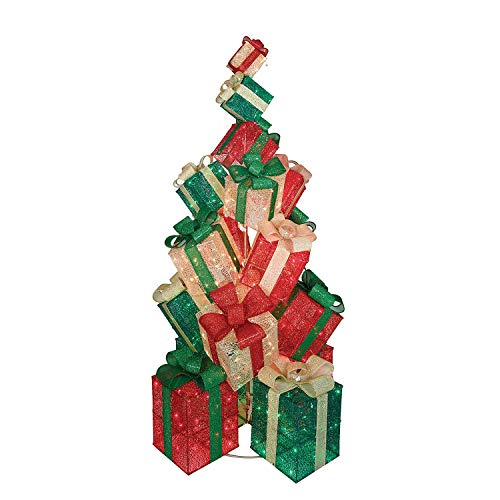Everstar LED Christmas Holiday Lighted Twinkling 18-Present Gift Box Tower Yard Decor