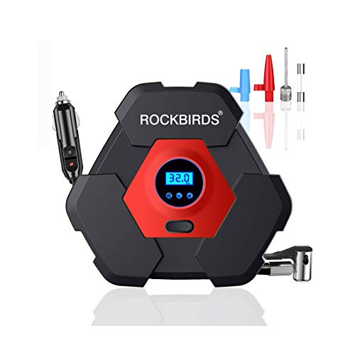 ROCKBIRDS Portable Air Compressor Tire Inflator, DC 12V Digital Air Pump with LED Light 150PSI for Basketball,Bicycle,Motorcycle,Balls