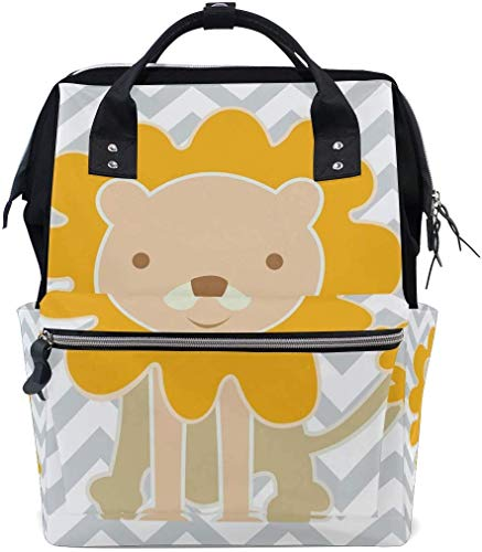 UUwant Sac à Dos à Couches pour Maman Large Capacity Diaper Backpack Travel Manager Baby Care Replacement Bag Nappy Bags Mummy Backpack Cute Happy Lion Pattern School Bag