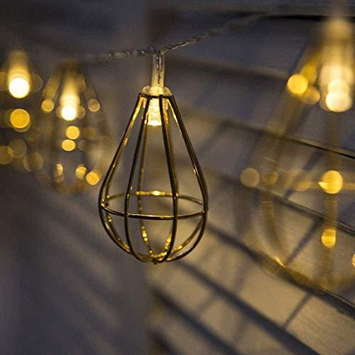 ZSMLB Luces de Cadena LED Iron Art Globo Caja de batería Luz de Noche Luces de Cuerda Exhibiciones de Vacaciones iluminadas al Aire Libre Metal Hueco Viento Industrial Día de Navidad Decoración de