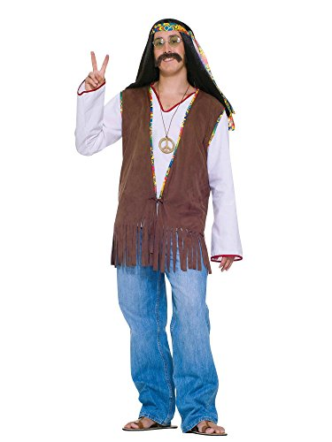 Forum Novelties Men's Generation Hippie Costume Vest, Brown, One Size