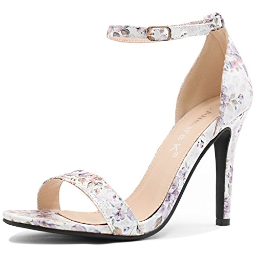 Allegra K Damen Blumen-Stoffdruck offene Zehen Knöchelriemen Stiletto Sandalette Lila 42 EU/10 US