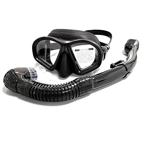 Combinación de Gafas de Buceo, máscara de Buceo de Cristal Templado Anti-Niebla, máscara de Buceo Equipos de Snorkeling seco, Adulto y Adolescente Buceo Fog Máscara de Snorkeling (Negro)