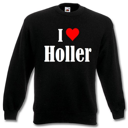Reifen-Markt Sudadera I Love Holler para mujer, hombre y niños en los colores negro, blanco y azul con estampado Negro 08Mujer Medium