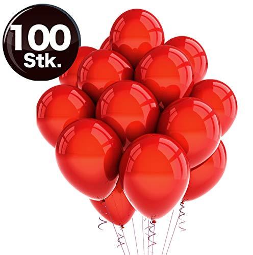 TK Gruppe Timo Klingler 100x rot Luftballons Ø 35 cm - 100% Bio Ballons Balloons Latexballons für Helium & Luft - Dekoration Hochzeit Hochzeitsdeko (100x rot)