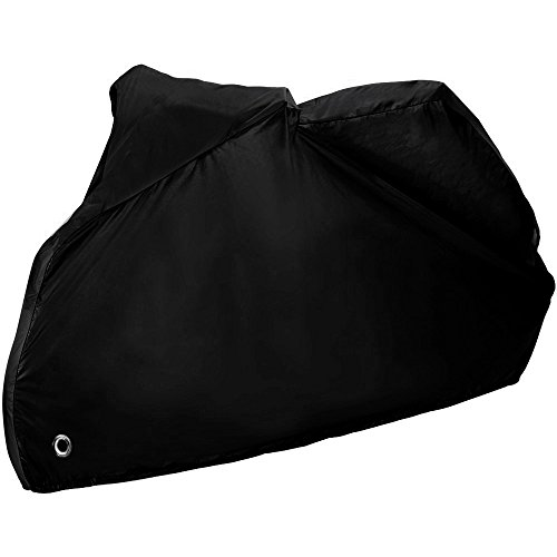 Zacro Motorcycle Cover Motorbike Cover 190T Waterproof UV Protective Cover with Stainless Steel Lock-holes Outdoor with Storage Bag(Black)