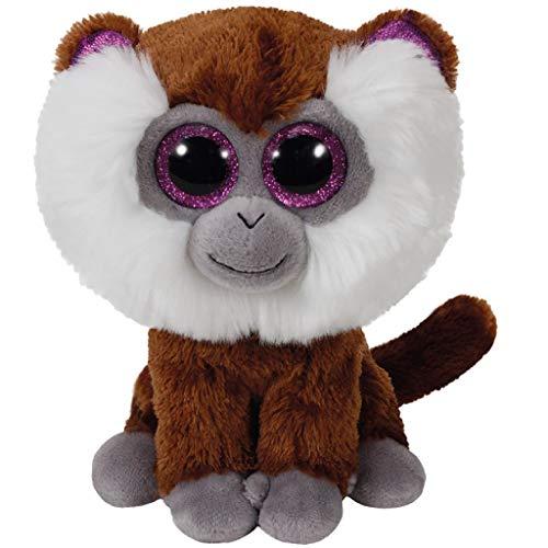 TY Monkey 36847 Tamoo, Bartaffe mit Glitzeraugen, Beanie Boo's, Plüsch, 15 cm, Braun