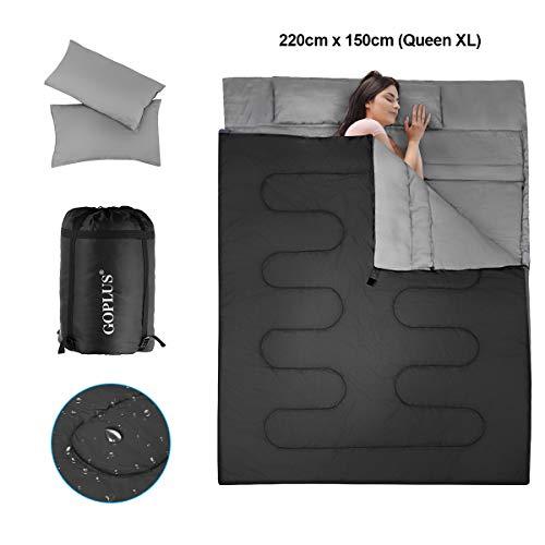 COSTWAY 2 in 1Doppelschlafsack, Einzelschlafsack XL, Deckenschlafsack 2 Personen/mit 2 Kissen / 220x150cm / für Camping, Wandern, Aktivitäten im Freien