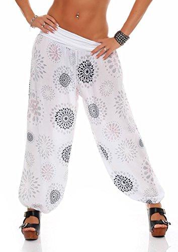 Malito Damen Pumphose mit Print | Haremshose zum Tanzen | Aladinhose zum Chillen - Freizeithose – Pluderhose 7181 (weiß)