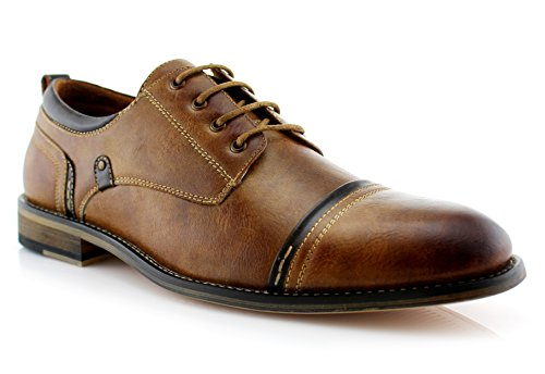 Ferro Aldo Shane MFA19606L Men's Formal Leather Lined Modern Classic Oxford Lace Up Dress Shoes – Brown, Size 10