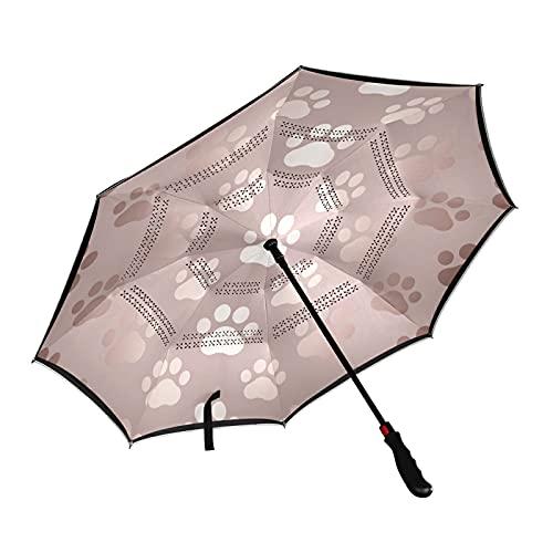 ISAOA Paraguas de pata de perro de oro rosa para golf, resistente al viento, impermeable, gran paraguas plegable con funda de transporte