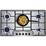 """34"""" Gas Cooktops Stainless Steel Gas Stove with 5 Burners for Home Kitchen NG/LPG Convertible Thermocouple Protection Countertop Gas Burner Dual Fuel Gas Cooker Stove"""
