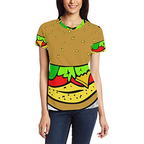 Hamburger Sandwich dames casual T-shirt korte mouw tuniek tops ronde hals blouse Comfy