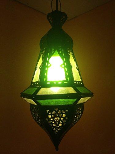 Orientalische Lampe Pendelleuchte Grün Anya 35cm E14 Lampenfassung | Marokkanische Design Hängeleuchte Leuchte aus Marokko | Orient Lampen für Wohnzimmer Küche oder Hängend über den Esstisch