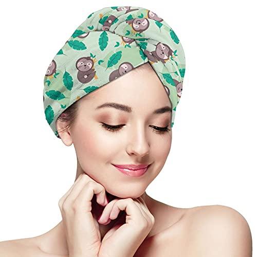 Microfiber Head Towel Wrap Hair Towels for Women Anti Frizz Long Thick Hair,Fast Hair Drying Towel Hand Towel Wrap Cap with Button,for Women Girls-Cartoon Cute Sloth Climb Tree