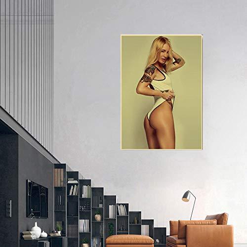 WKAQM Sexy Big Butt Poster Prints Sexy Bikini Women Canvas Wall Art Sexy Hot Girl Big Ass Wall Painting Bar Cafe Bedroom Picture Wall Art Decor Sin Marco Z-5411