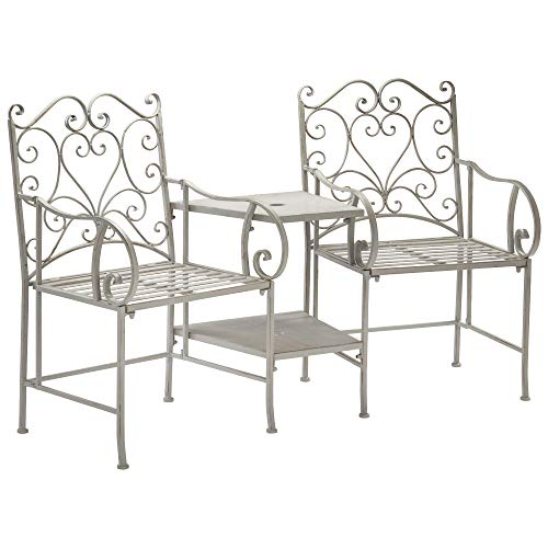 Garden Gear Metal Seat with Table, Companion Loveseat, Vintage Scroll Heart Design, Decorative Furniture for Garden, Patio & Decking