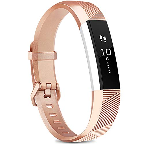 Yandu for Fitbit Alta Wrist Strap, Replacement strap for Fitbit Alta and Fitbit Alta HR, Adjustable Sport Wristbands for Women Men (03 Rose gold, S)