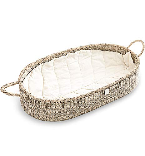 Baby Changing Basket I The Original by BEBE BASK I with Luxury & Unique Leaf Linen Liner. Handmade & Fair Trade Seagrass Baby Changing Tray. Generous High Sides Make a Secure Changing Table Topper