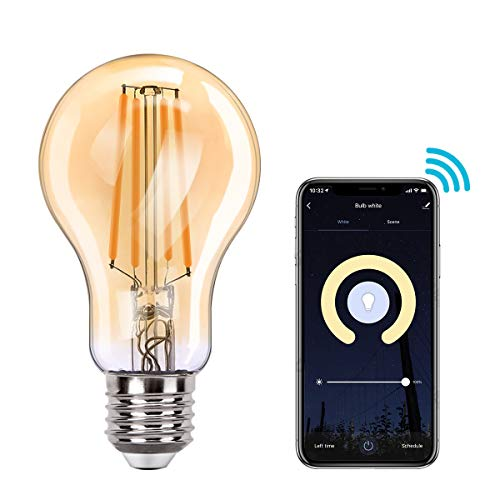 MoKo WIFI Inteligente Edison Bombilla A60, E27 7.5W LED Luz, Funciona con Alexa Echo, Google Home, SmartThings, Voz/Remote Control, Temporizador, 2700K Luz Blanca Cálida, No Requiere Hub - 1 PZS