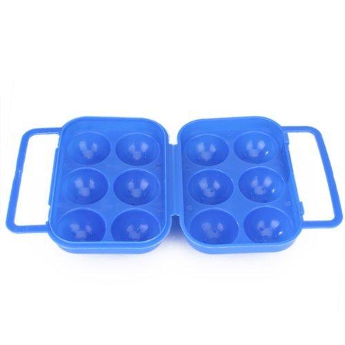 Tmodd Portable Pliante Plastique Boîte à œufs pour 6 oeufs – Bleu