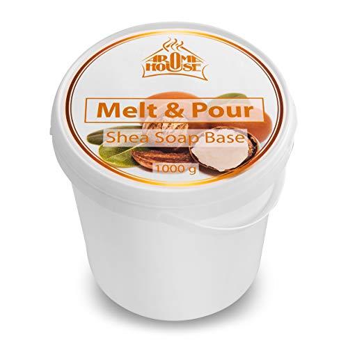 Glycerin Seifenbasis mit Sheabutter 1000g - Seifenbase Melt & Pour - Feuchtigkeitsspendend Rohseife - Soap für Trockene & Empfindliche Haut mit Shea Butter für Handgemacht & Geschenk