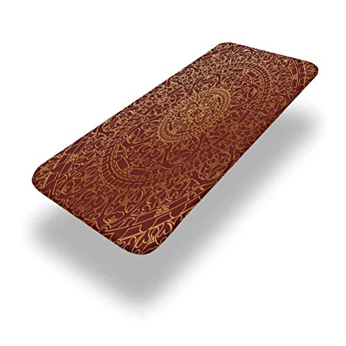 Lyzelre 6ft Maroon Elastic Edge Picnic Table Cover,Antique Arabic Artwork Oriental Inspired Round Ornament Moroccan Fitted Rectangular Polyester Table Cloth,for Outdoor Travel/Holiday/Party